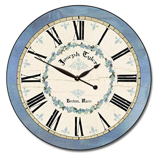 Blue Flower Wall Clock, Available in 8 Sizes, Most Sizes Ship 2-3 Days, Whisper Quiet.