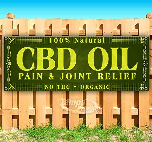 CBD Oil Pain & Joint Relief 13 oz Heavy Duty Vinyl Banner Sign with Metal Grommets, New, Store, Advertising, Flag, (Many Sizes Available) (Banner Joint)