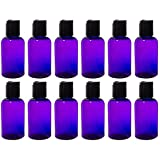 Purple 2 oz Boston Round PET Bottles (BPA Free) with Black Disc Cap Dispenser (12 pack) + Labels