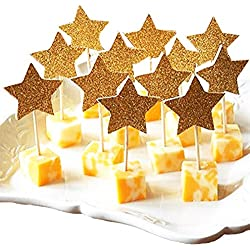 PARTYMASTER 11 Wedding Party Decorations Glitter Gold Star Design Lot of 48PCS Bridal Shower Food Toothpicks Cupcake Muffin Toppers