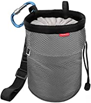 MoKo Chalk Bag, Drawstring Rock Climbing Chalk Bag Bouldering Chalk Bag Bucket with Adjustable Belt & Zipp