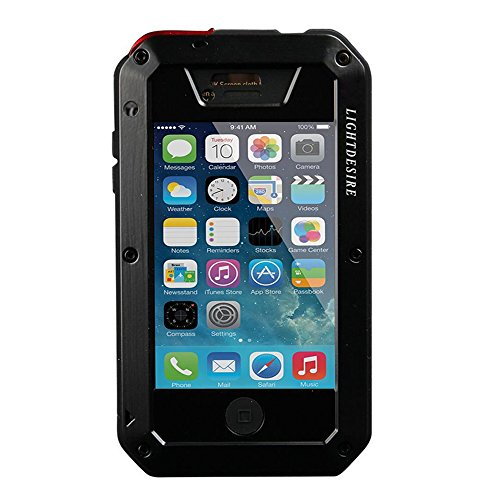 iPhone 4S Case,LIGHTDESIRE [Newest] Aluminum Alloy Protective Metal Extreme Water Resistant Shockproof Military Bumper Heavy Duty Cover Shell Case [Black] (For iPhone 4/4S)