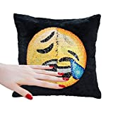 Emoji Covers for Beds Soft Material,Reversible Sequin Pillow Case,Emoji Throw Cushion Covers for Home Decor Party Sofa Couch Bed Car ,16