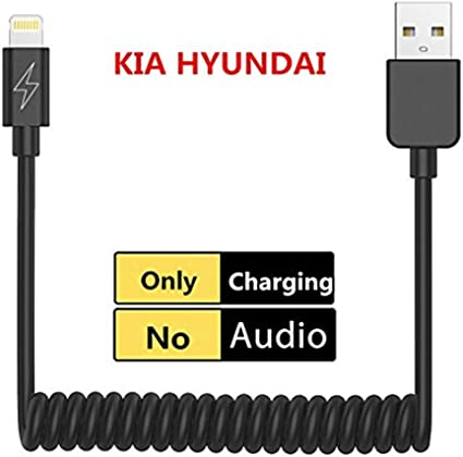 6FT Charging Kia Hyundai Charger Coiled Cable Charging Cord Compatible for iPXs Xs Max XR X 8 7 7 Plus for KIA Hyundai with USB Charging Port JetStar