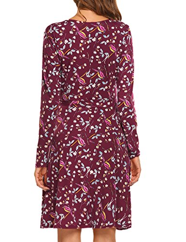 Midi V Party with A Print Sexy Beyove Belt Faux 3 Floral Split Wrap Women's pattern Neck Dress Bw180q