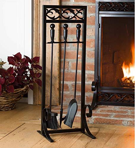 Cast Iron Scrollwork Fireplace Hearth Tool Set - 11
