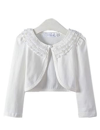 9009aa87cac46 Aduniキッズ ボレロ 白 長袖 子供服 レース ボレロ カーディガン 女の子 羽織 薄手 綿 フォーマル 発表