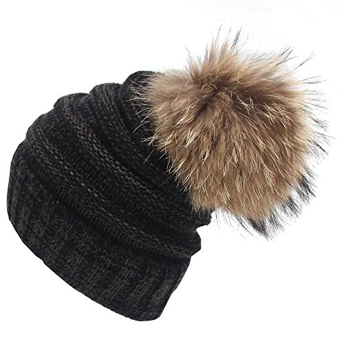 Womens Mens Winter Hat Warm Thick Beanie Cap Scarf For Winter Knit Ski Faux Fur Pompoms Hat
