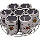 Aristo Masala & Dryfruit Stand 7in1, Stainless Steel, Silver, 7 Piece Set