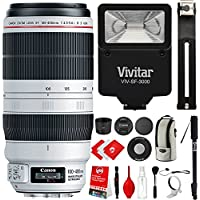 Canon EF 100-400mm f/4.5-5.6L IS II USM Lens with 5 Piece Filter Kit, 67 Monopod, Slave Flash and Accessory