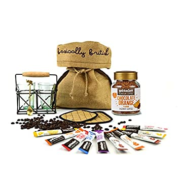 aee2c6b2401 Beanies Chocolate Orange Flavour Instant Coffee Hamper with Two Vintage Tea  Glasses Antique Brass Tea Stand