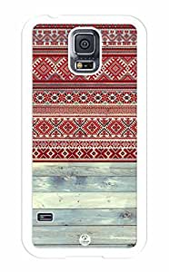 iZERCASE Samsung Galaxy S5 Case Red Tribal Pattern on Wood RUBBER - Fits Samsung Galaxy S5 T-Mobile, AT&T, Sprint, Verizon and International
