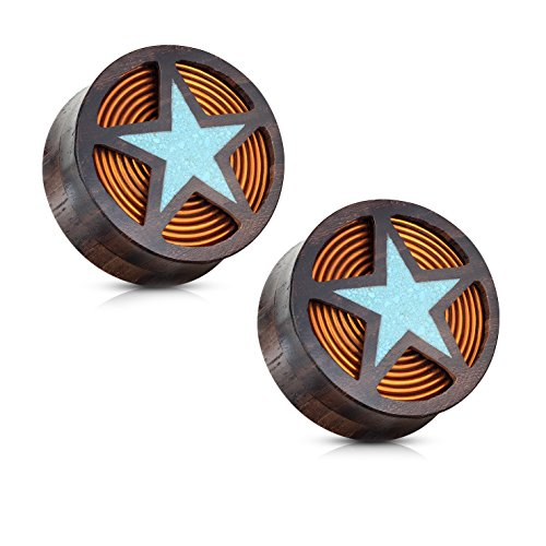 BodyJewelryOnline PAIR of Crushed Turquoise Filled Cut Out Star with Coil Inside of Organic Sono Wood Flesh Tunnels Double Flared Ear Stretcher Saddle Plugs Gauge (3/4)
