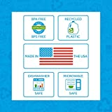 "Re-Play Made in USA 3pk - 7.37"" Divided Plates with Deep Sides for Baby, Toddler, Child Mealtime - Sky Blue, Aqua & Navy Blue 