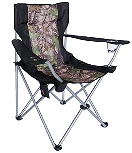 HomeStead Heated Oversized Folding Camp Chair For Camping Foldable Portable Heavy  Duty Lawn Chair   (