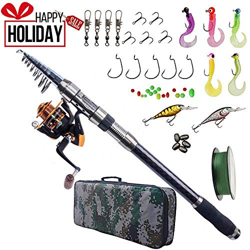 Fishing Rod and Reel Combo Carbon Fiber Telescopic Spinning Portable Fishing Pole Fishing Gear with Line Lure Hooks Fishing Bag for Sea Saltwater Freshwater Boat Fishing (Fishing Carbon Line)