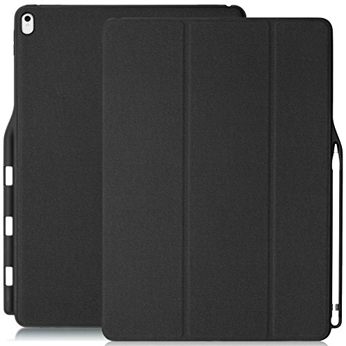 KHOMO iPad Pro 12.9 Inch Case with Pen Holder (1st and 2nd Gen 2016 & 2017)- Dual Super Slim Cover with Rubberized Back and Smart Feature (Sleep/Wake) - Black