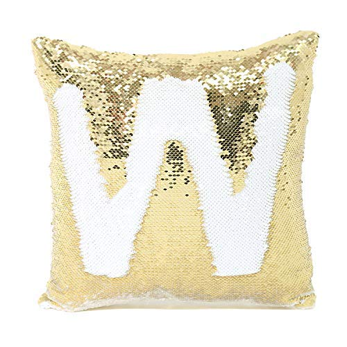 2 Pack Mermaid Sequin Pillow 16x16 inches Cover Pillow Case Flip Reversible Sequins Throw Cushion Case  (Gold)