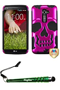 FoxyCase(TM) FREE stylus AND LG LS980 (G2) Metallic Hot Pink Black Skullcap Hybrid Protector Cover cas couverture