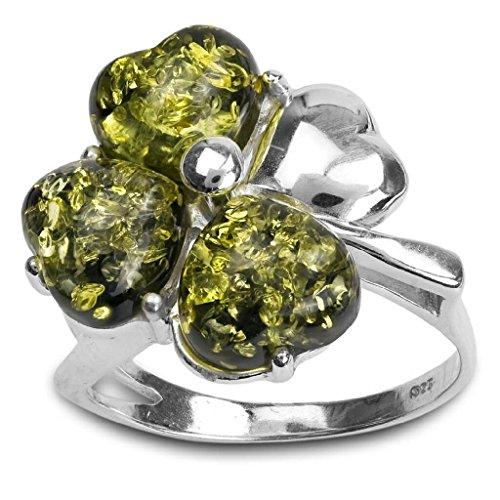 Sterling Silver Green Amber Clover Leaf Ring
