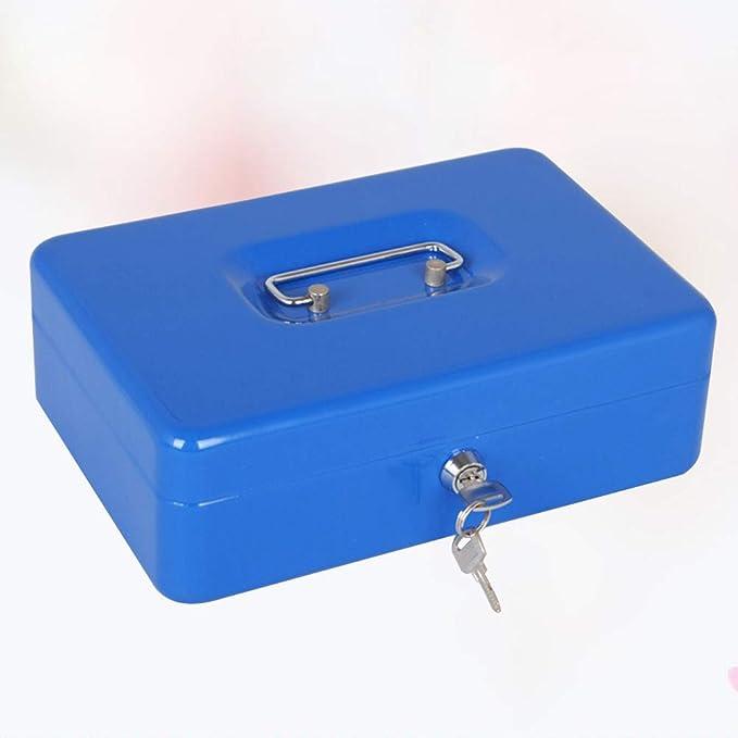 LIOOBO Caja de Caja metálica con Cerradura Caja de Caja Fuerte de Caja de Dinero Mini Caja de Caja registradora con Moneda para Caja Chica (Azul): Amazon.es: Hogar