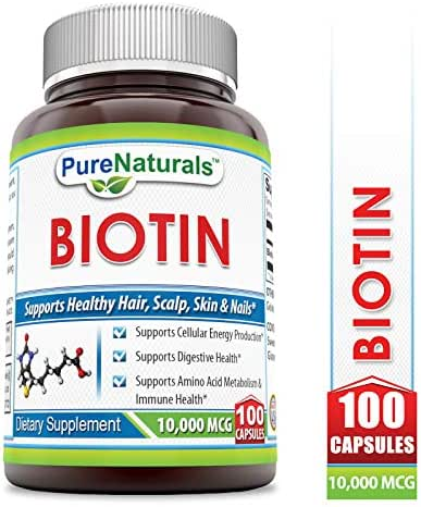 Pure Naturals Biotin 10,000 Mcg, Capsules- Supports Healthy Skin & Hair - Promotes Overall Good Health (100 Capsules)