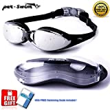 Per-Swim Goggles for Adults + FREE Protection Case. Anti Fog - Mirror Coated - UV Protection - Soft Silicone Gasquet for Superior Confort - For Men and Women