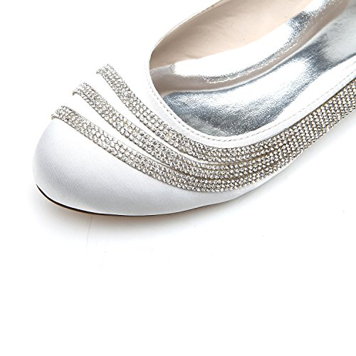 Escarpins Pour 13 Closed la Strass silver Talon D9872 Mariée Toe Chaussures Mariage Femmes Kitten Elobaby qtn5PP