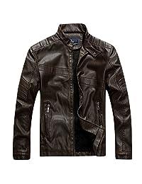 URBANFIND Men's Regular Fit Faux Leather Vintage Solid Motorcycle Jacket