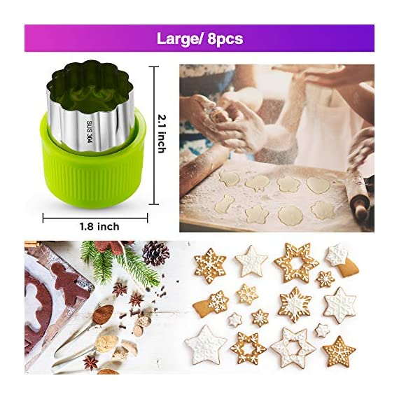 Gimars Large + Small Stainless Steel Cookie & Vegetable & Fruit Cutters Shapes Sets, Mini Cookie Stamp Mold, Sandwich Cutters for Kids Baking, Bento Box and Food Decoration Tools for Kitchen 2 ? 16 PCS 2 Size (8 large : 1.8 in x 2.1 in & 8 small : 1.2 in x 1.65 in.) ¡°One cookie to one kid¡± bite size deep shape mini cookie cutters for choices - The large cookie cutters are perfect to make bite size mini cookie,spritz cookies, decorations for cake, pie crust, gum paste work, craft projects, fondant cutouts,Pastry, mini-tart, etc. The small cookie cutters are great to cut shapes for kids lunch bento box, fruit and vegetable shapes,fruit platter, drinks garnishes etc ? Thicker non rusting stainless steel cookie cutters with fine welding seams to cut food clean without bending or falling apart - Thicker high quality package of food grade stainless steel and plastic silica gel material, not contain BPA. These kids mini cookie cutters are built to last for a long time and does not rust after cleaning. Sturdy and sharp to cut shapes clean with ease. These tiny cookie cutters shapes are very easy to use ? Thicker non rusting stainless steel cookie cutters with fine welding seams to cut food clean without bending or falling apart - Thicker high quality package of food grade stainless steel and plastic silica gel material, not contain BPA. These kids mini cookie cutters are built to last for a long time and does not rust after cleaning. Sturdy and sharp to cut shapes clean with ease. These tiny cookie cutters shapes are very easy to use
