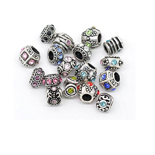 Ten Assorted Rhinestone Bead Charm Spacers