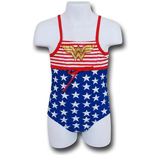 Wonder Woman Stars & Stripes One-Piece Kids Swimsuit- 7/8