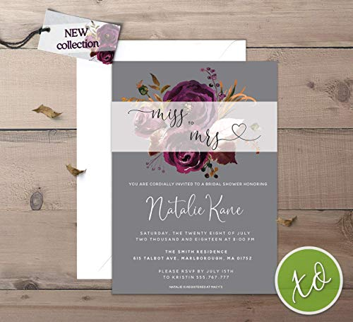 Bridal Shower Invitations Floral Miss to Mrs Bridal Shower Invitation Spring Flower Purple Plum and Grey Garden Wedding Shower Invites