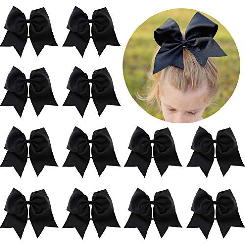 12 Pcs Large Cheer Bows 8 Bulk Hair Bow Accessories with Ponytail Holder for Girls High School College Cheerleading