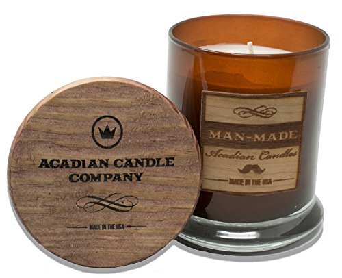 Man-Made Soy Blended Scented Candle [12oz] Scent: Boys Night Out Club (Fresh) Citrus, Cardamom, Eucalyptus, Vetiver and Oakmoss Masculine Style Fragrance. Printed Wooden Lid & Veneer Front Label ()