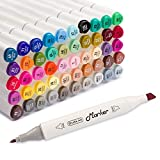 Shuttle Art 50 Colors Dual Tip Art Markers,Permanent Marker Pens Highlighters with Case