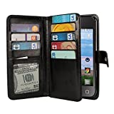 NEXTKIN Alcatel OneTouch Pixi Case, Leather Dual Wallet Folio TPU Cover, 2 Large Pockets Double flap, Multi Card Slots Snap Button Strap For Alcatel OneTouch Pixi Glitz A463BG/Pixi 3 3.5 inch - Black