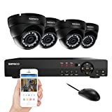 SANSCO Smart CCTV Security Camera System, 8-Channel 1080N DVR with 4x HD 1.0MP Outdoor Cameras (1280x720 Dome Cam, Rapid USB Storage Backup, Vandal Proof Body, Night Vision, Hard Drive NOT Included)