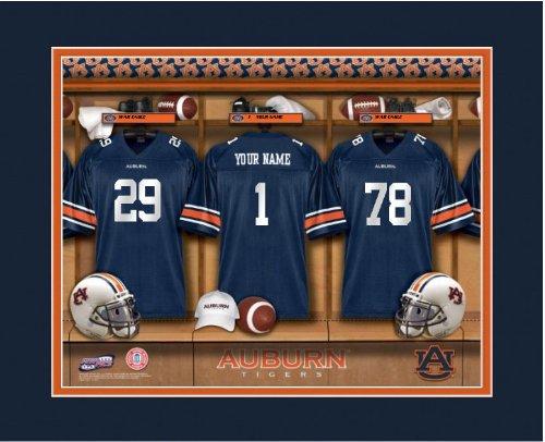 (NCAA Locker Room Print Auburn Tigers Football Personalized Framed)