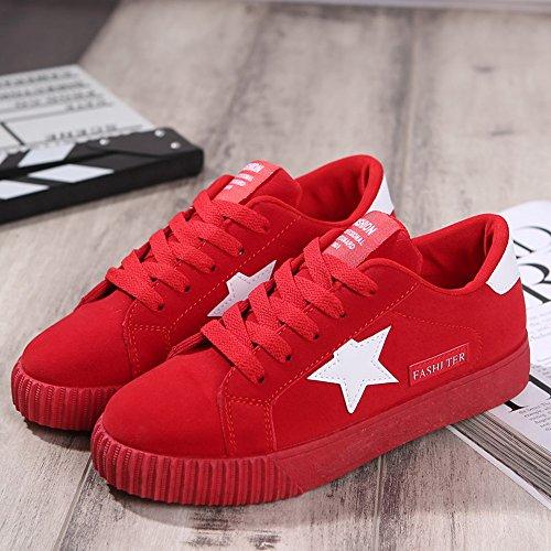 Rojo Zapatillas Tela 35 Gris Negro de 43 Rojo Low Deportivo Mujer Sneakers Cordones Plataforma Top Star Zapatos Rosa Vinstoken de aB7wdqB