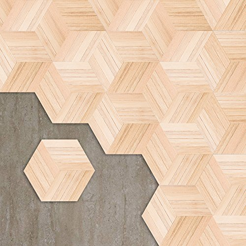 Cheap  APSOONSELL Hexagon Wood Wall Decal Stickers, White Wood Flooring Tile Stickers, 9..