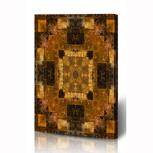 Ahawoso Canvas Prints Wall Art 8x10 Inches Rosette Tribal Eastern Pattern Beige Ethnic Abstract African Vintage Yellow Ancient Wooden Frame Printing Home Living Room Office -