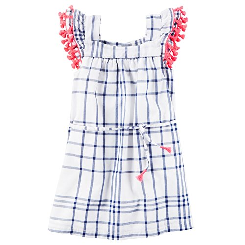 Carter's Girls' 2T-8 Pop Pom Trim Dress 2T