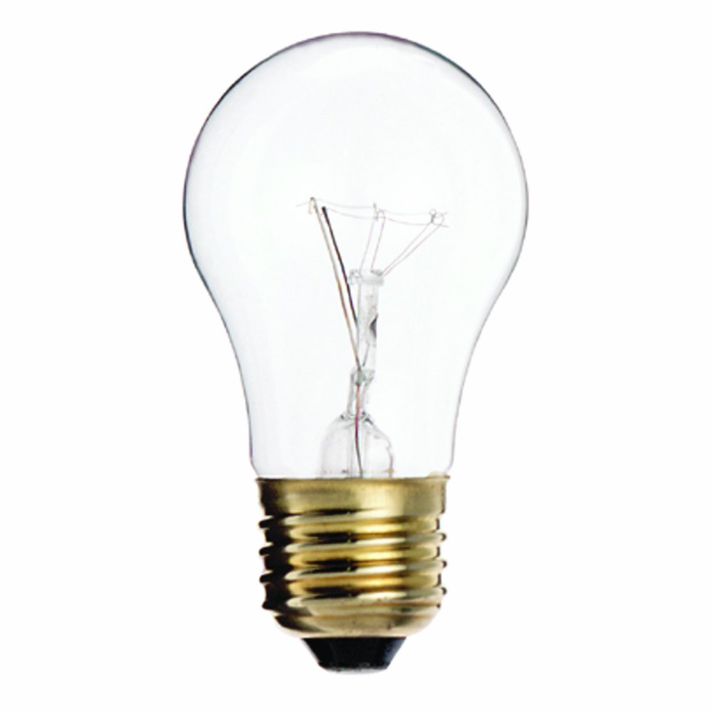 Satco S3948 130V Medium Base 15-Watt A15 Household Lamp, Clear