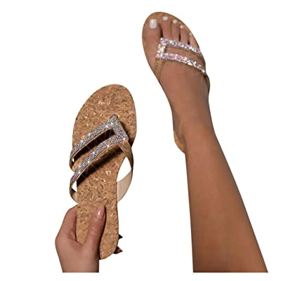 HIRIRI Women's Flip Flops Ladies Crystal Beach Sliders Casual Sandals Slippers Mules Slip On Shoes: Clothing
