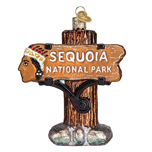 (Old World Christmas Glass Blown Ornament S-Hook Gift Box, Vacation Collection (Sequoia National Park))