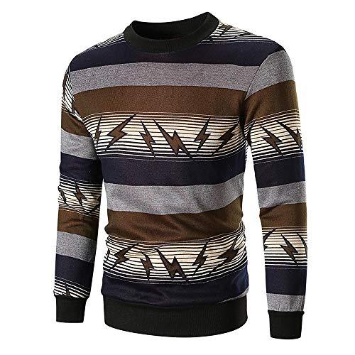 iLXHD O-Neck Long Sleeve Printed Pullover Sweatshirt Top Tee Outwear Blouse(Brown,2XL) -