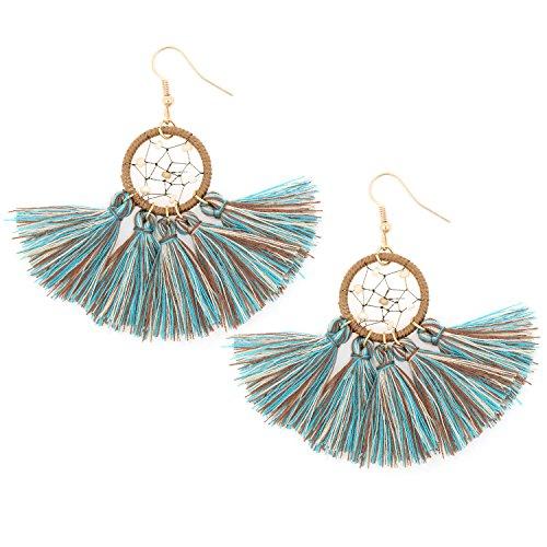 Multicolor Dream Catcher Tassel Fringe Thread Dangle Drop Bohemian Earrings for Girls Women
