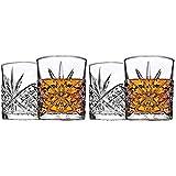James Scott Double Old Fashioned Crystal Drinking Glasses Set, Irish Cut Design - Set of 4-11 Oz