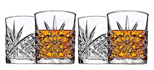 4-Piece Whiskey & Liquor Glass Set-Exquisite Cocktail Glasses For  Bourbon, Scotch, Alcohol, Etc. | 11 Oz. Drinking Glasses | Irish Cut ()